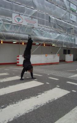Hand Stand the Zebra Crossing