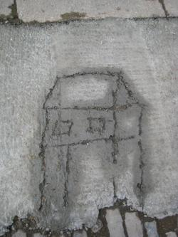 Draw in wet cement