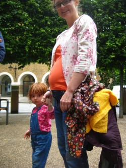 Pregnant play activist and daughter