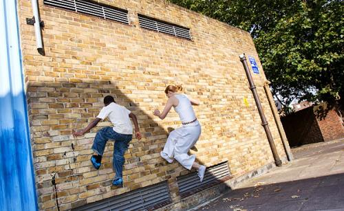 Gafar and Lottie Running up a Wall