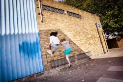 Maria and Sophie Running up a Wall