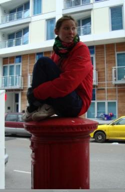 Sitting on a postbox
