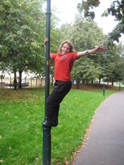 Sophie climbing a lamppost